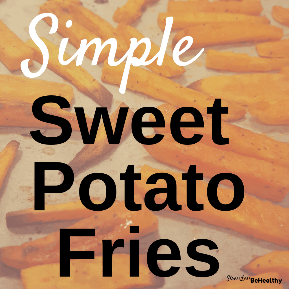 Craving fast food or something sweet, but don't want to ruin your healthy eating streak? Learn how to make these healthy and simple sweet potato fries! These homemade fries simply bake in your oven, and are toddler and kid approved. Check out this 3 ingredient recipe now, and save yourself from eating something you'd rather not eat! #sweetpotatofries #sweetpotatorecipes #veganrecipes #healthyrecipes #stresslessbehealthy