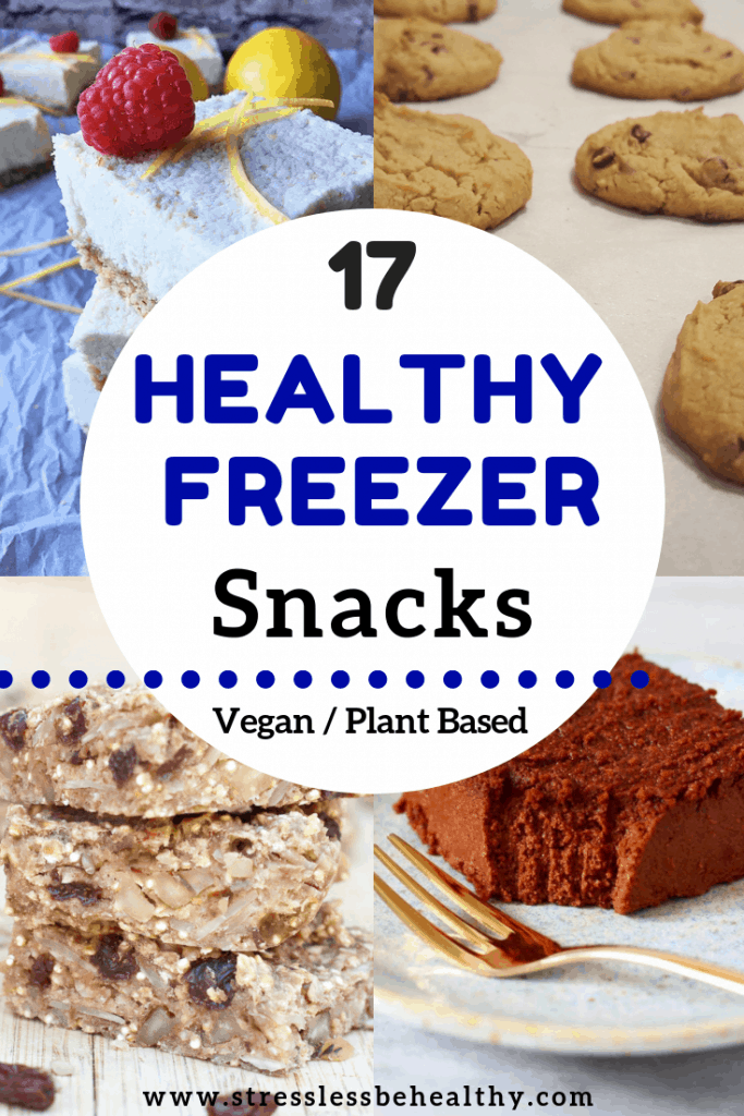 Looking for healthy snack recipes you can freeze and always have on hand? Take a look at these ideas and learn how to make freezer friendly snacks for kids! #freezerfriendly #kidssnacks #healthrecipes #veganrecipes #stresslessbehealthy