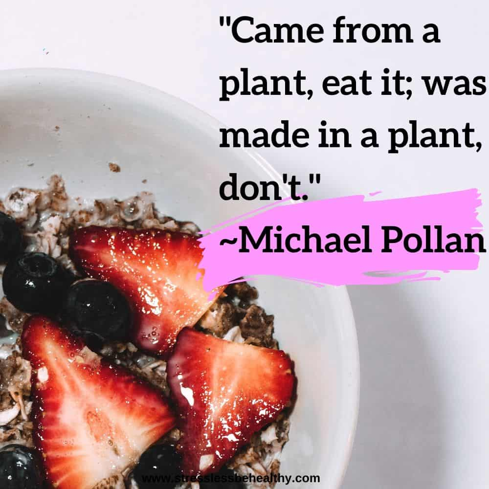 """""""Came from a plant, eat it; was made in a plant, don't."""" ~Michael Pollan"""