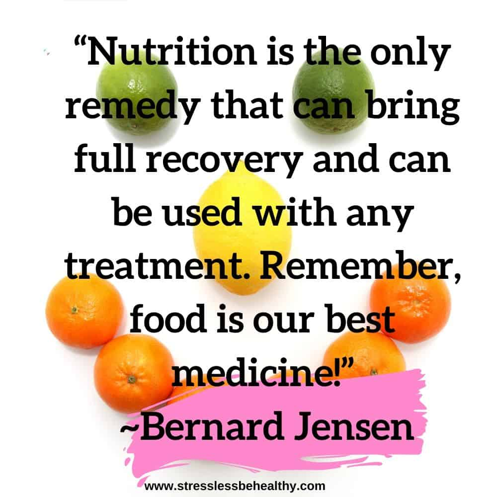 """""""Nutrition is the only remedy that can bring full recovery and can be used with any treatment. Remember, food is our best medicine!"""" ~Bernard Jensen"""
