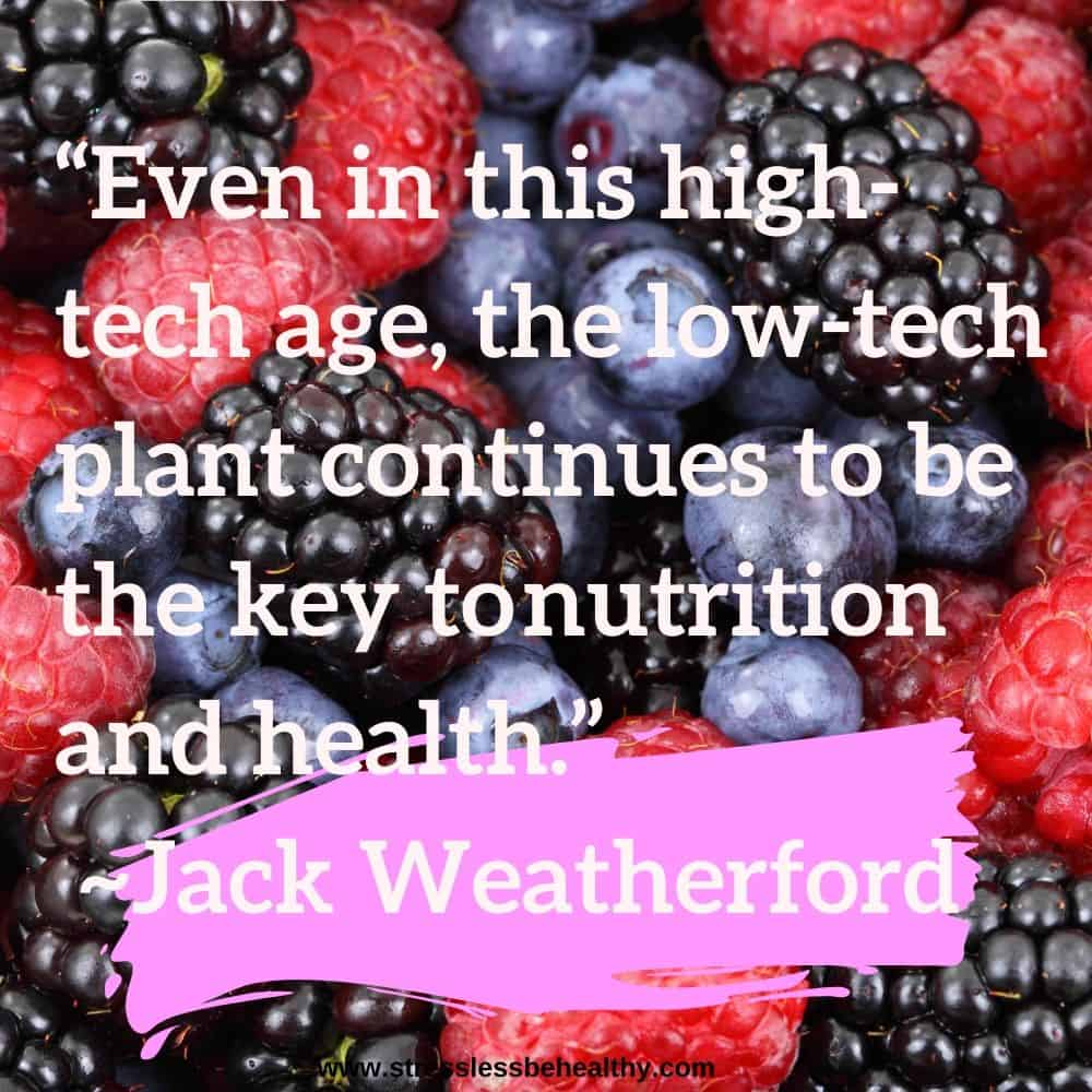 """""""Even in this high-tech age, the low-tech plant continues to be the key tonutrition and health."""" ~Jack Weatherford"""