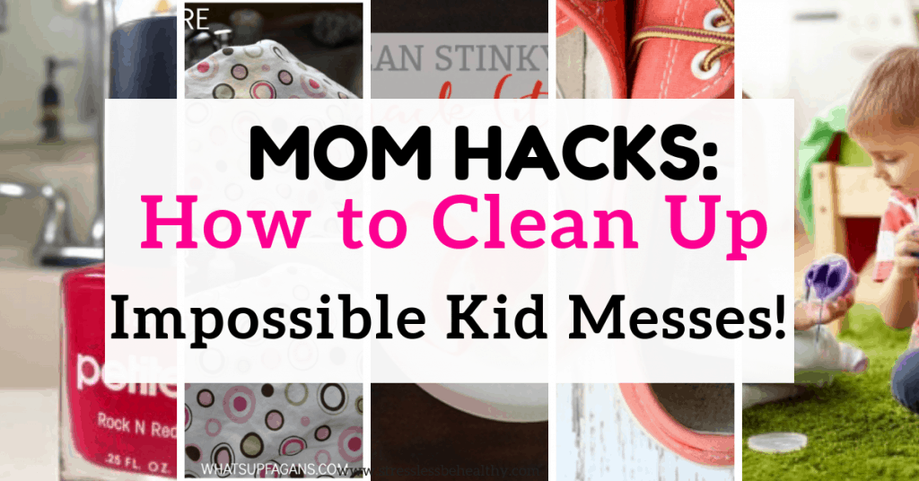 collage of different ways to clean kid messes and get rid of odors