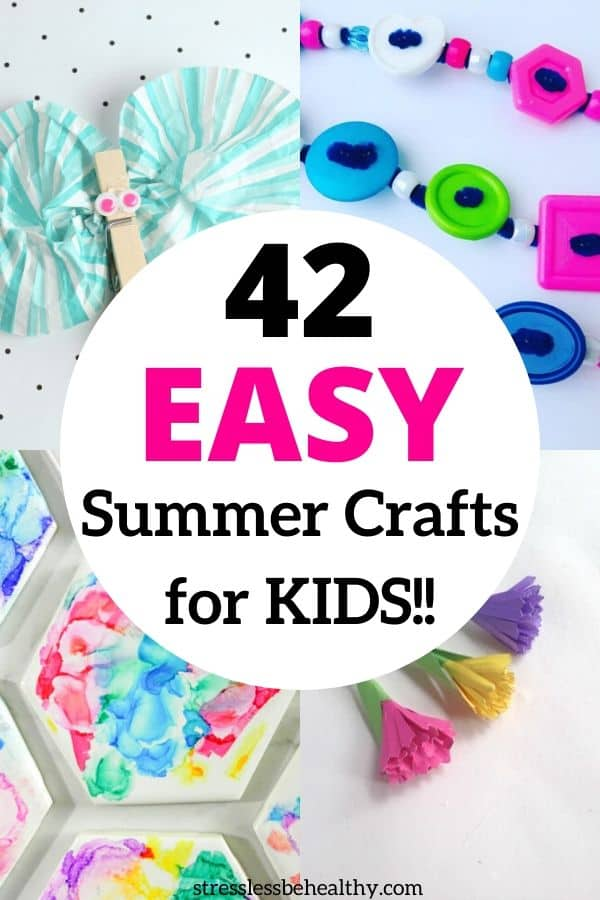 collage of easy summer crafts for kids, fun crafts for kids, summer crafts, making jewelry, bubble crafts, wind chime crafts, rock crafts
