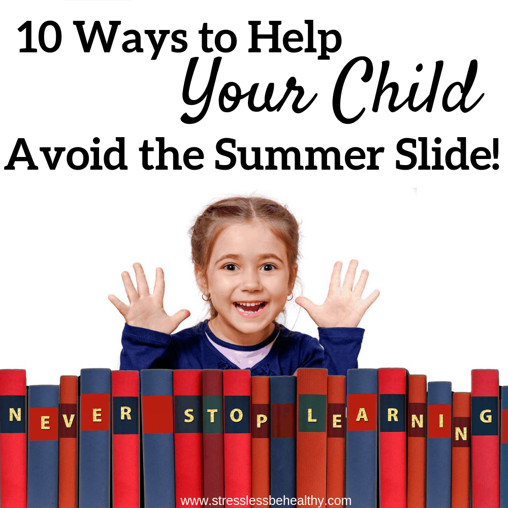 little girl excited about never stop learning and books, to avoid the summer slide or summer slump