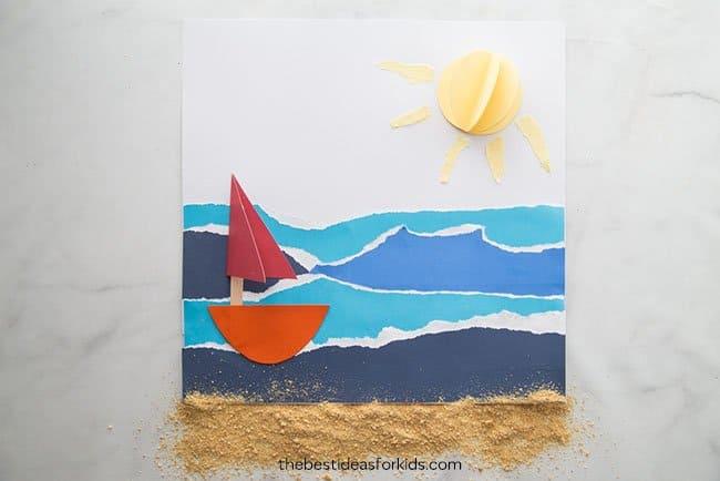 sailboat on ocean paper craft