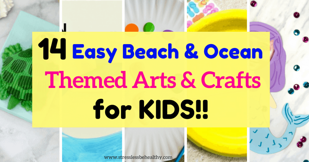 collage of beach and ocean themed arts and crafts, easy crafts for kids, turtle seashell craft, shark egg carton craft, mermaid craft, paper plate fish craft