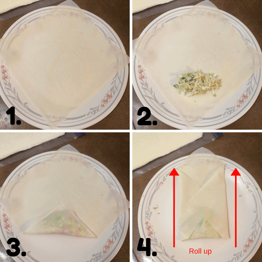 how to roll up spring rolls