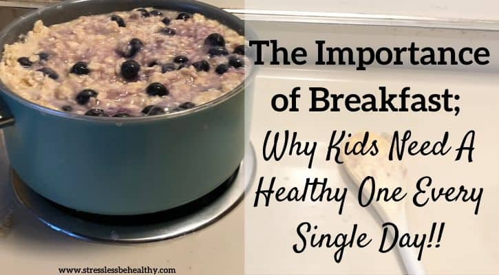 breakfast on the stove, blueberry oatmeal that a child made by themselves