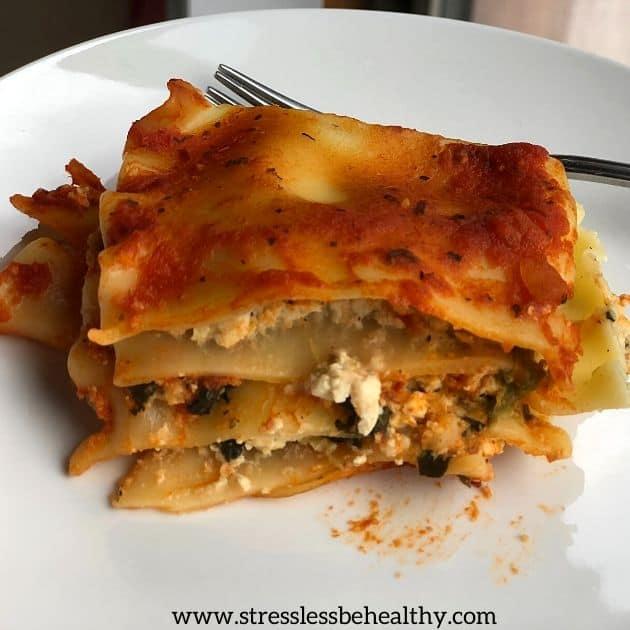 vegan lasagna with tofu ricotta a