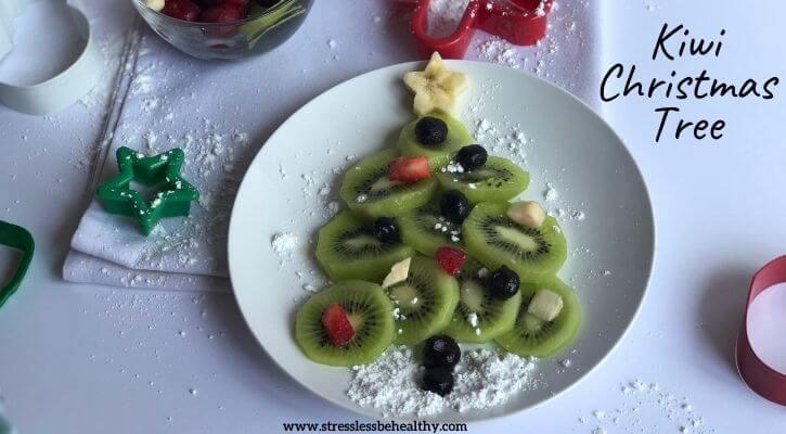 healthy holiday snack made of fruit, kiwi christmas tree, holiday snacks for kids