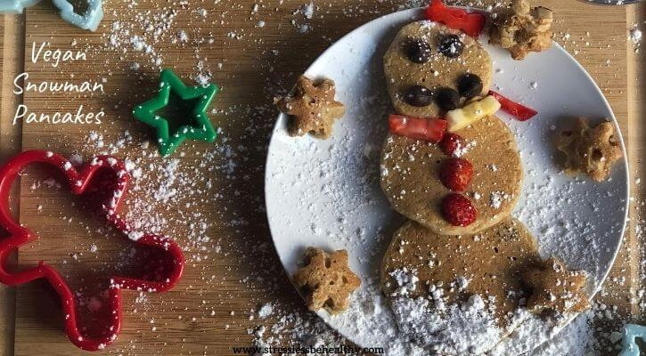 vegan snowman pancakes