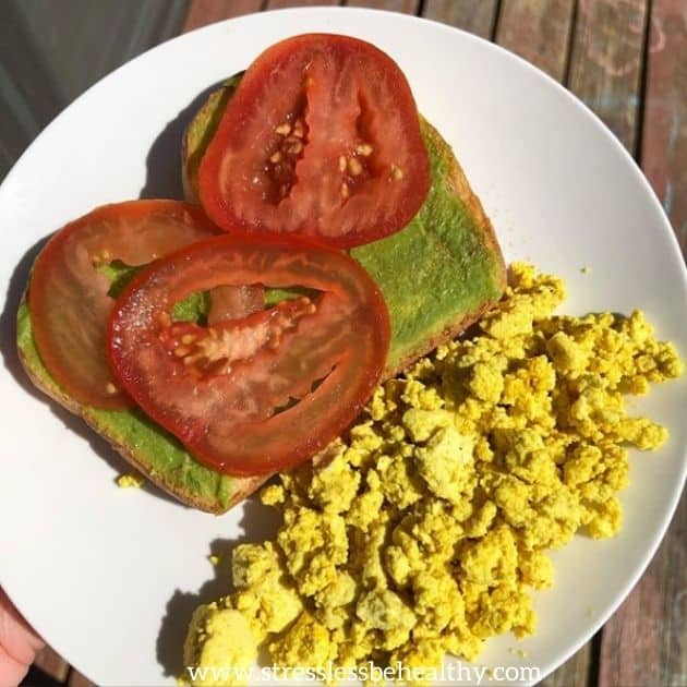 avocado toast and tofu scramble