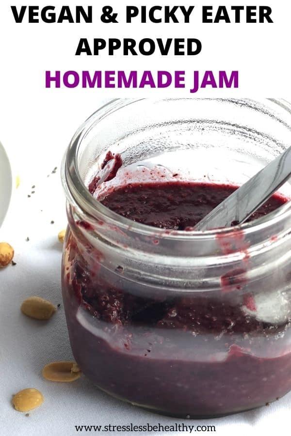 how to make vegan berry chia jam, homemade jam recipe