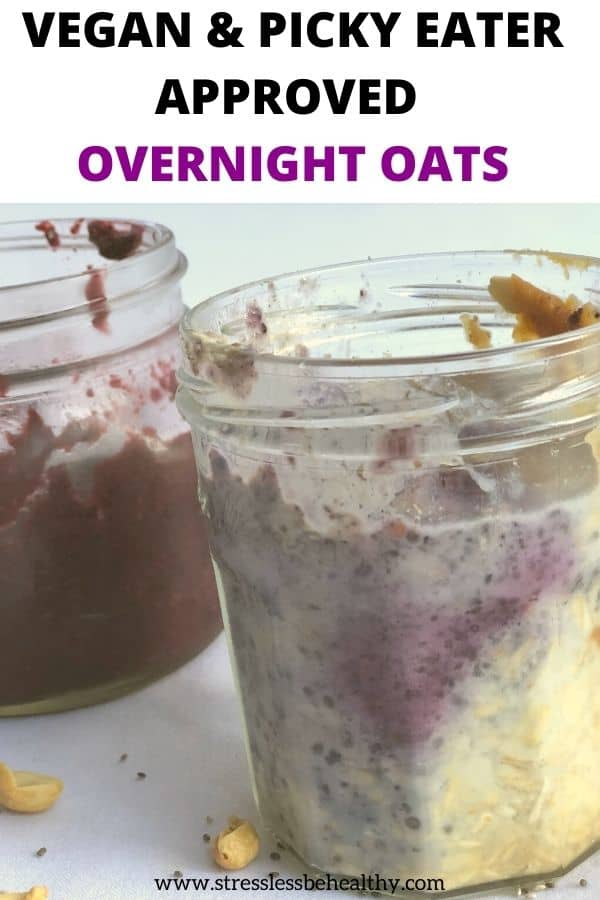 You and your kids are going to love this easy pb&j overnight oats recipe! Super simple and quick to make ahead this picky eater breakfast for busy mornings where you don't have time to make anything. Vegan and delicious oats.